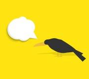 Corbeau noir avec la bulle de la parole Photo stock