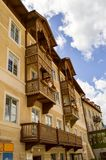 Corbelled facade on an apartment building. in northern Italy Royalty Free Stock Photography