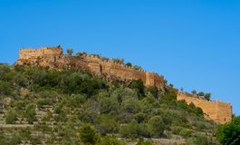 Corbera village Castle in Valencia royalty free stock images