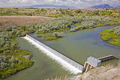 Corbett Dam irrigation diversion. The Corbett Diversion Dam was built on the Shoshone River to divert irrigation water coming from Buffalo Bill Reservoir into Stock Photography