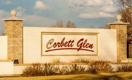Corbett roztoki sąsiedztwa znak Zdjęcia Stock