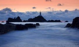 Corbiere Leuchtturm in Jersey Lizenzfreies Stockbild