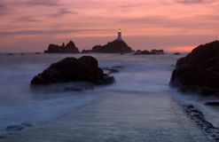 Corbiere Lighthouse in Jersey stock image