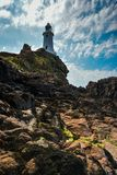 Corbiere Lighthouse on a sunny day. Jersey, Channel Islands stock images