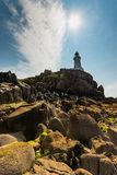 Corbiere Lighthouse on a sunny day. Jersey, Channel Islands stock image