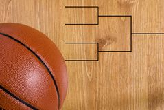 Corchete y bola del final cuatro del baloncesto Foto de archivo libre de regalías