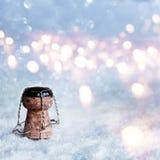 Corcho de Champán en nieve Foto de archivo libre de regalías