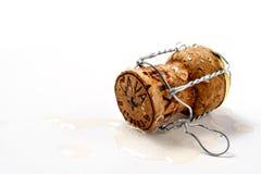 Corcho en champán derramado Imágenes de archivo libres de regalías