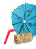 Corcho, paraguas y paja Foto de archivo
