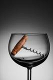 Corcho viejo Screwn en copa de vino Fotografía de archivo libre de regalías