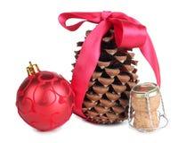 Corcho y bola del Año Nuevo Imagen de archivo libre de regalías