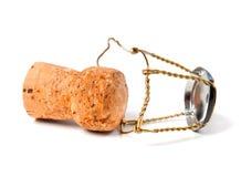 Corcho y muselet del vino de Champán Fotografía de archivo