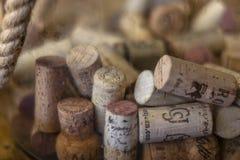 Corchos clasificados en una botella fotografía de archivo libre de regalías