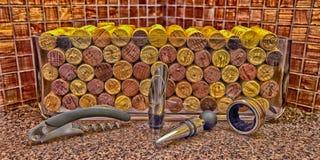 Corchos y accesorios del vino Foto de archivo