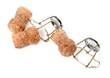 Corchos y muselets del vino de Champán Foto de archivo libre de regalías