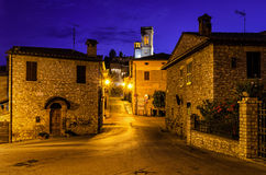 Corciano (Umbria) at blue hour Royalty Free Stock Images