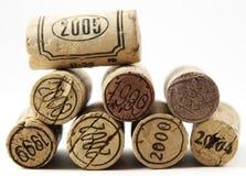 Corcks met jaarzegel op hen Stock Afbeeldingen