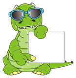 Corcodile in sunglasses with banner Stock Photo