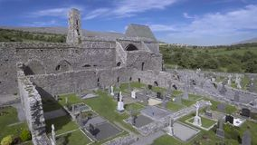 Corcomroe Abbey is an early 13th-century Cistercian monastery located in the north of the Burren region of County Clare, Ireland. stock footage