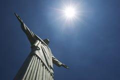 Corcovado基督救世主里约热内卢巴西太阳 免版税图库摄影