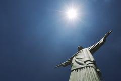 Corcovado基督救世主里约热内卢巴西太阳 库存照片