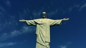 Corcovado Христос облака Рио-де-Жанейро Бразилии спасителя сток-видео