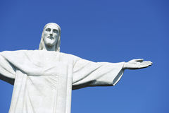 Corcovado Christ the Redeemer Blue Sky Horizontal Close-Up Stock Photos