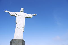 Corcovado Christ the Redeemer Blue Sky Horizontal Close-Up Stock Photo