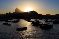 Corcovado Christ The Redeemer sunset guanabara bay, Rio de Janei Royalty Free Stock Photography