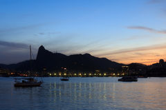 Corcovado Christ The Redeemer sunset night from Urca Royalty Free Stock Image