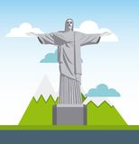 Corcovado christ statue isolated icon. Vector illustration design Stock Images