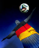 Corcovado with German Flag. Corcovado statue and Brazuca football at Rio, Brasil with Germany flag Stock Photos