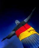 Corcovado med den tyska flaggan Arkivfoto