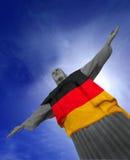 Corcovado med den tyska flaggan Royaltyfria Bilder