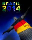 Corcovado met Duitse Vlag Royalty-vrije Stock Afbeeldingen