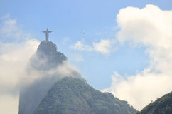 Corcovado Mountain Christ the Redeemer Rio with Clouds Stock Image