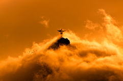 Corcovado Mountain with Christ the Redeemer Statue Stock Images