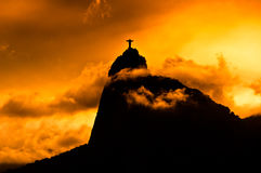 Corcovado Mountain with Christ the Redeemer Statue Stock Photo