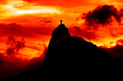 Corcovado Mountain with Christ the Redeemer Statue Stock Photography
