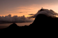 Corcovado Mountain Silhouette Royalty Free Stock Photography