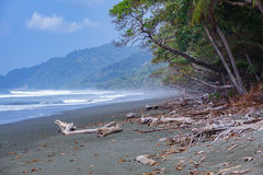 Corcovado National Park - beach view with mist Royalty Free Stock Photography