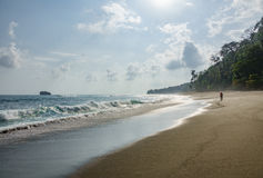 Corcovado National Park - beach view with tourist walking Royalty Free Stock Photo