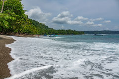 Corcovado National Park - beach view with tourists Royalty Free Stock Images