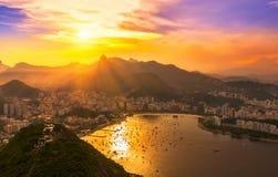 Corcovado och Botafogo i Rio de Janeiro _ royaltyfri foto