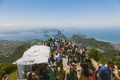 CORCOVADO, RIO DE JANEIRO, BRAZIL - NOVEMBER 2009: crowd of tour. Crowd of tourists looking at the view from lookout point in corcovado Royalty Free Stock Photography
