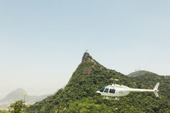 CORCOVADO, RIO DE JANEIRO, BRAZIL - NOVEMBER 2009: Helicopter fl Stock Images