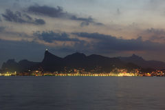 Corcovado Rio de Janeiro night view from Niteroi Royalty Free Stock Images