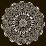 Cordón alrededor del modelo barroco ornamental de la mandala del vector Ornamento floral de encaje del vintage La elegancia blanc stock de ilustración