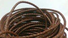 Cordón del cuero de Brown en el fondo blanco Foto de archivo libre de regalías