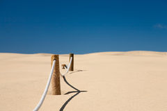 Cord barrier in desert Stock Images